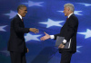 Prezident Barack Obama a bval prezident Bill Clinton na sjezdu demokrat v Charlotte v Severn Karoln.