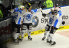 Pt zpas finle play off hokejov extraligy PSG Zln - HC koda Plze 17. dubna ve Zln. Radost Plzn po druhm glu.