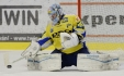 Finle play off hokejov extraligy, 6. zpas, HC koda Plze - HC PSG Zln 19. dubna v Plzni. Brank Zlna Jakub Sedlek.