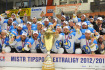 Sedm zpas finle play off hokejov extraligy PSG Zln - HC koda Plze 21. dubna ve Zln. Hri Plzn slav mistrovsk titul.