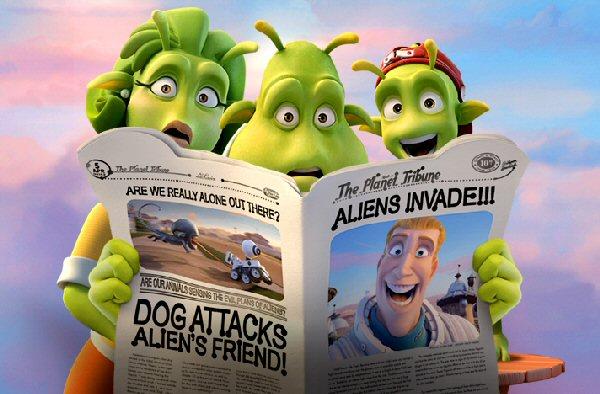 Plakát k britsko-španělské animované komedii Planeta 51.