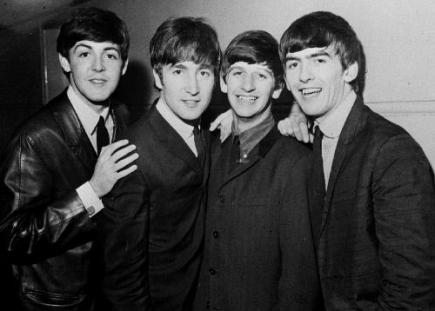 Skupina Beatles. Zleva Paul McCartney, John Lennon, Ringo Starr a George Harrison.