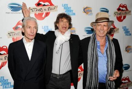 Rolling Stones: zleva Charlie Watts, Mick Jagger a Keith Richards