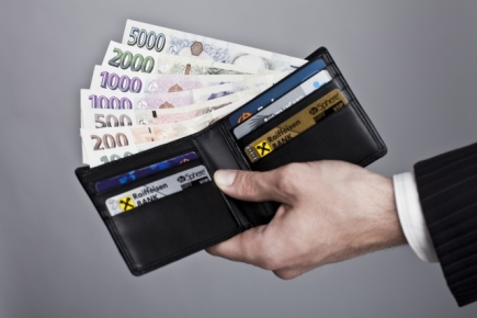 Peněženka, bankovky, české peníze, koruny, platební karty - ilustrační foto.