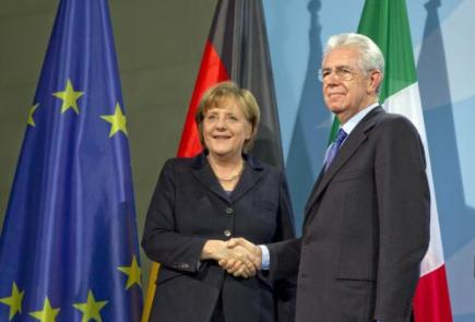 Ilustran foto - Nmeck kanclka Angela Merkelov a italsk premir Mario Monti.