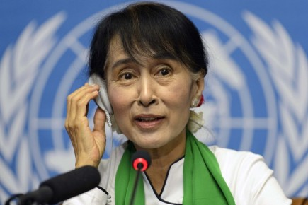 Myanmar opposition leader Aung San Suu Kyi speaks at a press conference during the 101th International Labour Organization (ILO) Conference at the European headquarters of the United Nations in Geneva, Switzerland, Thursday, June 14, 2012. (AP Photo/Keystone/Laurent Gillieron)