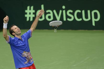 Finále tenisového Davisova poháru ČR - Španělsko - závěrečné dvouhry 18. listopadu v Praze. Radek Štěpánek po rozhodující výhře.