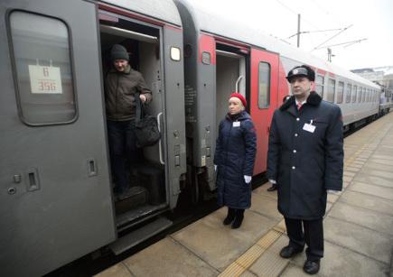 Nový vlak EuroNight Vltava, který od 18. prosince jezdí na trase Moskva - Praha, přijel na pražské hlavní nádraží.