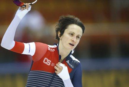 Česká rychlobruslařka Martina Sáblíková po vítězství na 5000 metrů.
