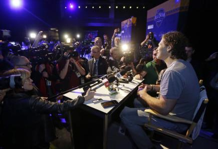 Český hokejista Jaromír Jágr z Floridy na tiskové konferenci před Utkáním hvězd NHL.
