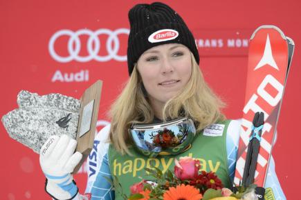 Americká slalomářka Mikaela Shiffrinová po vítězství ve slalomu v Crans Montaně.