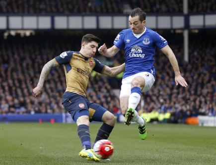 Fotbalista Arsenalu Hector Bellerin (vlevo) a hráč Evertonu Leighton Baines.