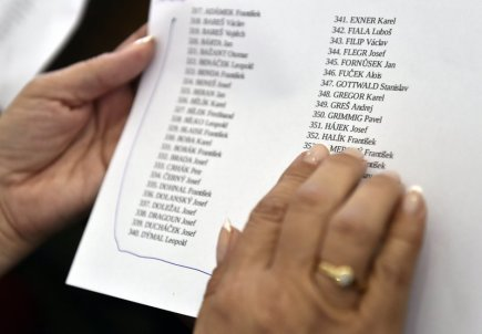V želivském klášteře na Pelhřimovsku si lidé 14. srpna připomněli 464 kněží a řeholníků, kteří tam byli internováni v letech 1950 až 1956. Mší vedenou kardinálem Dominikem Dukou a želivským opatem Jáchymem Jaroslavem Šimkem tím začala zdejší Pouť smíření. Na snímku seznam jmen internovaných kněží při veřejném čtení.