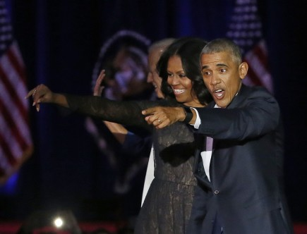 Barack Obama s manželkou Michelle po posledním proslovu ve funkci amerického prezidenta