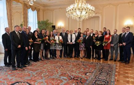 Prezident Miloš Zeman přijal 12. ledna v Praze starosty obcí, které uspěly v soutěži Vesnice roku 2016.