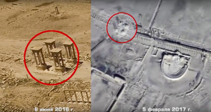 Ruská armáda dnes zveřejnila letecké snímky syrské Palmýry. Je z nich patrné, že radikálové z organizace Islámský stát (IS), kteří město podruhé dobyli, tamní historické památky znovu ničí. Na kombinovaném snímku je vidět původní a současný stav tetrapylonu.
