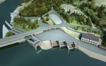 Orlická přehrada získá doplňkový bezpečnostní přeliv (na vizualizaci), který má snížit zatížení vodního díla při extrémních povodních. Náklady jsou odhadovány na 830 milionů korun. Pokud půjde vše hladce, mohlo by se stavět v letech 2019 až 2021, sdělil 16. února ČTK mluvčí Povodí Vltavy Hugo Roldán.