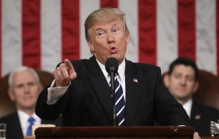 Americký prezident Donald Trump hovoří v Kongresu k zákonodárcům.