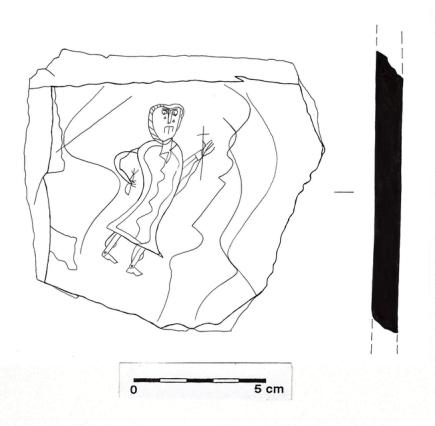 Unikátní rytinu mužské postavy na břidlicové destičce z poloviny 10. století (na snímku je rytina překreslená) objevili olomoučtí archeologové z Národního památkového ústavu (NPÚ) při druhé etapě záchranného výzkumu v prostoru nádvoří děkanátu filozofické fakulty v Křížkovského ulici v Olomouci. Postava nese kříž , rytina byla objevena v jámě skalní pukliny, informoval o tom dnes ČTK mluvčí olomouckého pracoviště NPÚ Vlastimil Staněk. Během průzkumu odborníci odkryli také dalších 39 hrobů, bylo to v místech, kde se dříve nacházel klášter u svatého Jakuba.