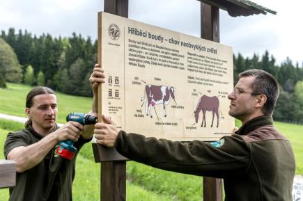 Pracovníci Správy Krkonošského národního parku vraceli 17. května k turistickým cestám dřevěné informační cedule, které před zimou z hor snesli. Na snímku zleva jsou Michal Štěpánek a Radek Drahný, kteří instalovali tabule v lokalitě Hříběcí boudy nedaleko Strážného.