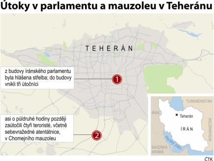 Teherán hlásí teroristické útoky v parlamentu a mauzoleu: Ilustrační mapka se základními údaji