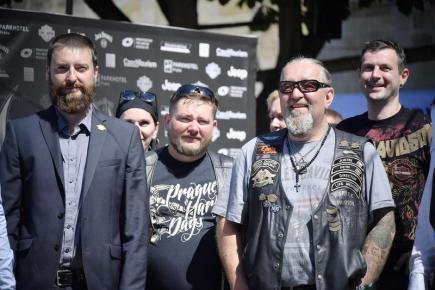 Příznivci motocyklové značky Harley-Davidson na tiskové konferenci společnosti, která 20. června v Praze informovala o chystaných oslavách v České republice. Americký výrobce motocyklů v roce 2018 oslaví 115. výročí.