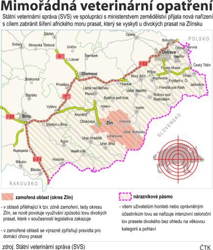 Státní veterinární správa (SVS) ve spolupráci s Ministerstvem zemědělství přijala nová nařízení s cílem zabránit šíření afrického moru prasat, který se vyskytl u divokých prasat na Zlínsku.