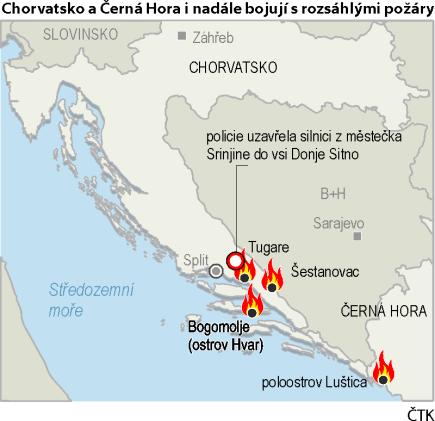 Lesní požáry v Chorvatsku a v Černé Hoře - ilustrační mapka se základními údaji.