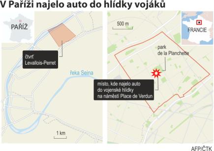 V pařížské čtvrti Levallois-Perret najelo auto do vojenské hlídky zapojené do protiteroristické operace. Ilustrační mapka oblasti.