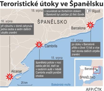 Teroristické útoky ve Španělsku, ilustrační mapka oblasti.