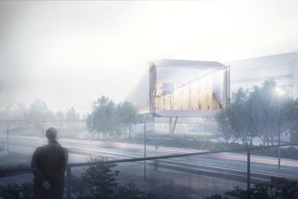 Vítězem mezinárodní architektonické soutěže na rozšíření Kongresového centra Praha je španělská kancelář OCA. Stavba by mohla začít asi za tři roky. Vizualizace ukazuje budoucí podobu místa.