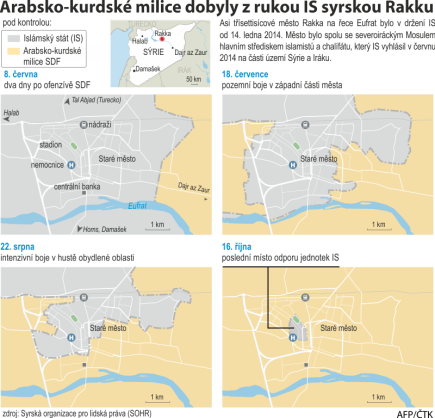 Arabsko-kurdské milice dobyly z rukou IS syrskou Rakku.  Ilustrační mapka oblasti.