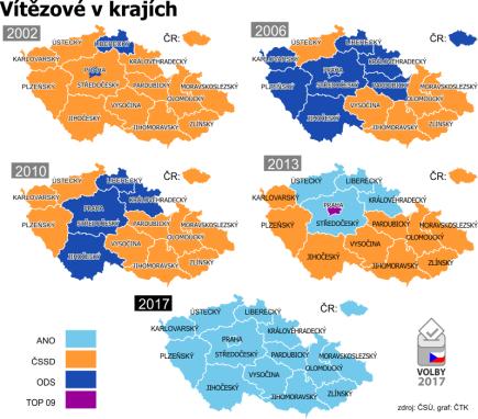 Historický přehled parlamentních voleb ČR podle krajů od roku 2002 do roku 2017.