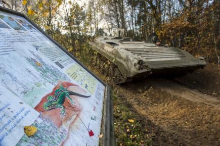 Kola a pásy těžké vojenské techniky rozjezdily 11. listopadu další část přírodní památky Plachta na okraji Hradce Králové. Neobvyklá úprava terénu pomáhá lokalitu, která byla od konce 19. století vojenským cvičištěm, udržovat ve stavu vhodném pro život vzácných přírodních druhů. Na snímku je lehké bojové vozidlo pěchoty (BVP).
