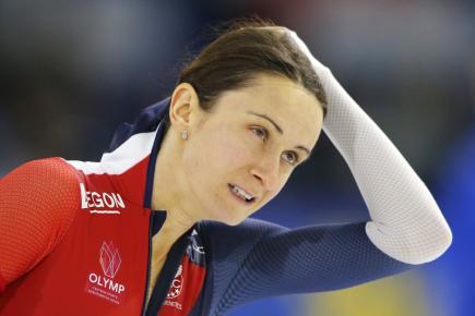 Česká rychlobruslařka Martina Sáblíková v závodu na 1500 metrů na Světovém poháru v Heerenveenu.