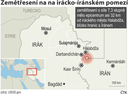 Zemětřesení na irácko-íránském pomezí, ilustrační mapka oblasti se základními údaji.