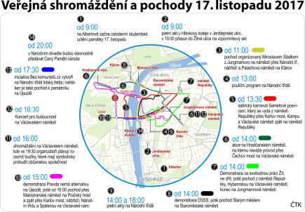 Veřejná shromáždění a pochody 17. listopadu 2017, ilustrační mapka Prahy s vyznačením hlavních akcí.
