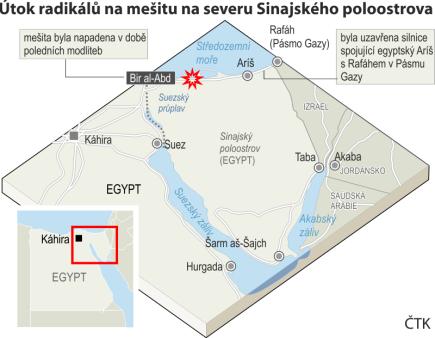Teroristický útok na mešitu na severu Sinajského poloostrova, ilustrační mapka oblasti s vyznačením místa útoku.