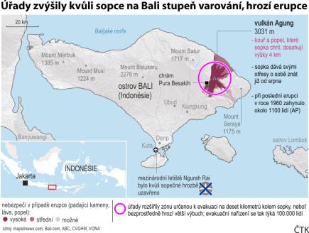Grafika: Sopka Agung na Bali, ilustrační mapka oblasti se základními údaji.