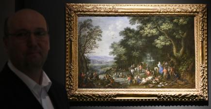 Aukci výtvarných děl a starožitností pořádala 30. listopadu v Praze aukční síň Arthouse Hejtmánek. Na snímku je obraz českého malíře Jana Jakuba Hartmanna s názvem Alegorie vzduchu.