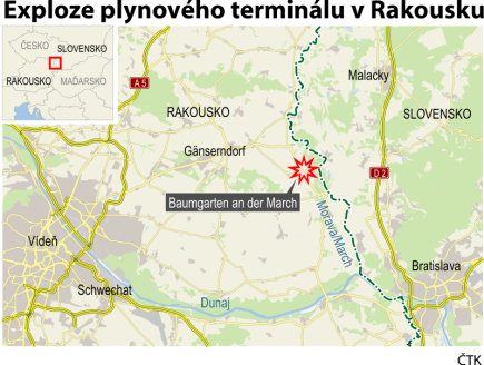 Exploze rakouské plynové stanice - ilustrační mapka oblasti.