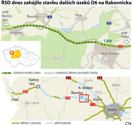 ŘSD zahájilo stavbu dalších úseků D6 na Rakovnicku. Ilustrační mapka oblasti