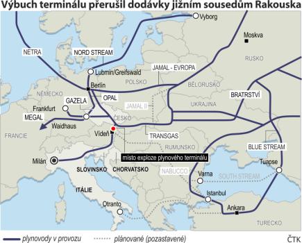 Grafický přehled evropských plynovodů s vyznačením místa exploze plynového terminálu v Rakousku.