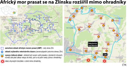 Ilustrační mapka oblasti s vyznačením rizikových zón afrického moru prasat v okrese Zlín.