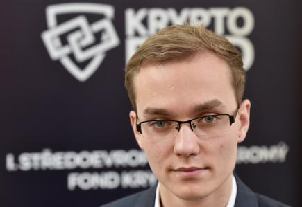 Projektový manažer Kryptofondu Jan Záhumenský vystoupil 31. ledna 2018 v Praze na tiskové konferenci u příležitosti představení prvního kryptoměnového fondu v ČR a v celé střední a východní Evropě, který založila finanční skupina Comfort Finance Group CFG.