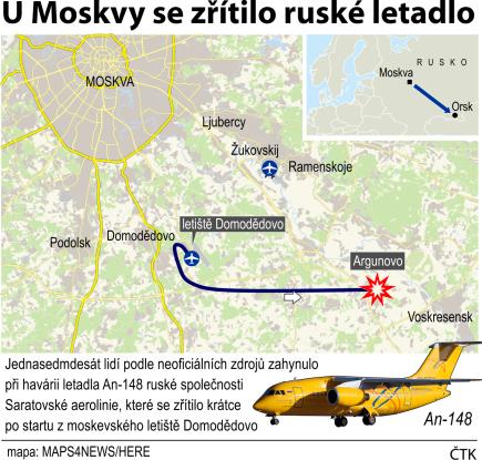 Leteckou havárii jihovýchodně od Moskvy nepřežil nikdo z 71 osob na palubě letadla An-148 Saratovských aerolinií. Uvedla to ruská prokuratura. Ilustrační mapka oblasti s vyznačením místa nehody.
