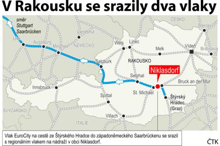 Srážka vlaků v Rakousku, ilustrační mapka oblasti.