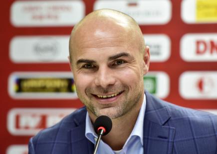 Sportovní ředitel Slavie Praha Jan Nezmar vystoupil 14. ůnora 2018 v Praze na tiskové konferenci před zahájením jarní části první fotbalové ligy.