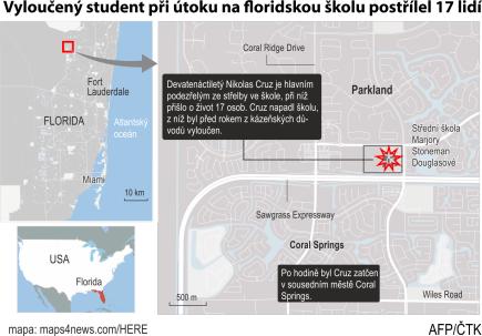 Vyloučený student při útoku na floridskou školu postřílel 17 lidí. Ilustrační mapka oblasti