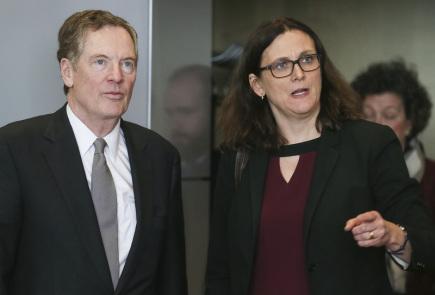 Eurokomisařka pro obchod Cecilia Malmströmová s americkým obchodním zmocněncem Robertem Lighthizerem na jednáních v Bruselu.
